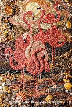 """Flamingo"",wall seashell mosaic from Marina Alexandrova. ""Flamingo"",wall seashell mosaic from Marina Alexandrova. Mosaic Birds, Mosaic Art, Mosaic Glass, Stained Glass, Mosaic Mirrors, Seashell Art, Seashell Crafts, Seed Art, Art Perle"