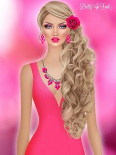 Covet Fashion Pink Fashion, Fashion Dolls, Fashion Art, Fashion Dresses, Knitting Dolls Clothes, Girly M, Digital Art Girl, Portraits, Fashion Design Sketches
