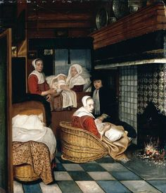 "2 мая. ""Interior with a Family and Two Nurses before a Fire""  Cornelis de Man (1621–1706)"