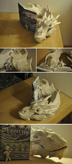 I am torn between awe at the sheer awesomeness of the dragon and horror that someone would do this to a Tolkien book...