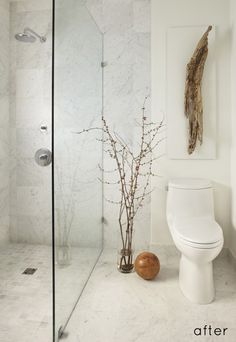 driftwood in modern marble bathroom // design sponge Beach Bathrooms, Bathroom Spa, Bathroom Renos, Small Bathroom, Bathroom Ideas, Bathroom Modern, Minimal Bathroom, Bathroom Closet, Modern Shower