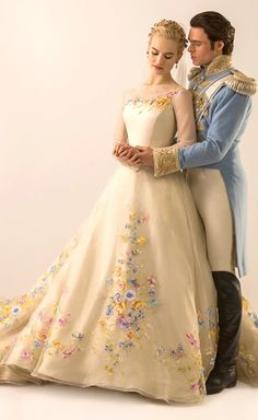 Lily James and Richard Madden as Cinderella and The Prince in Cinderella (2015) - Costumes by Sandy Powell