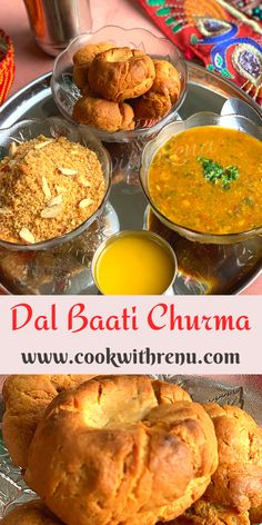 Rajasthani Dal Baati churma is a traditional delicacy from the state of Rajasthan and one of the most popular meals consisting of lentils, Whole Wheat bread/rolls Indian Bread Recipes, North Indian Recipes, Oven Recipes, Meat Recipes, Vegetarian Recipes, Diwali Food, Cooking Dishes, Food Names, Delicious Dinner Recipes