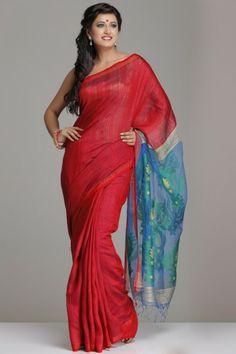 Gorgeous Red Matka Silk Saree With Blue Jamdani Pallu