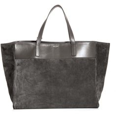 Saint Laurent Reversible shopping tote (4.885 BRL) ❤ liked on Polyvore featuring bags, handbags, tote bags, grey leather handbags, gray leather tote, leather tote handbags, leather handbag tote and handbag tote