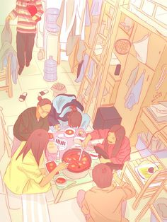 Colorful Illustrations by Caring. Japanese.