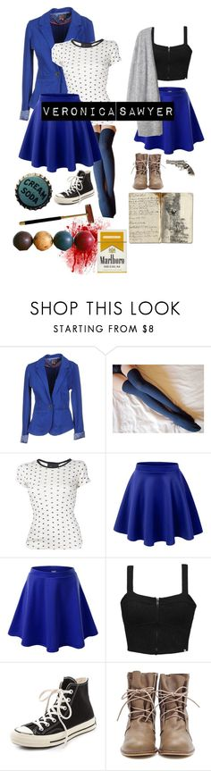 """""""Veronica Sawyer - Heathers the Musical Halloween Costume"""" by hannahefay ❤ liked on Polyvore featuring ONLY, Edith A. Miller, LE3NO, J.TOMSON, Element, Converse, Yves Saint Laurent and Rockwood"""
