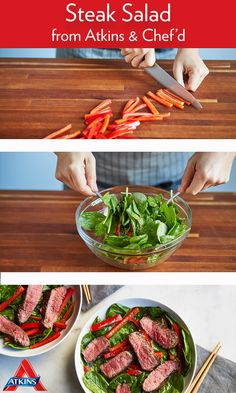 This steak salad is low carb, flavorful & easy to make at home! Give it a try with our pre-portioned recipe kits delivered to your home! Atkins Recipes, Steak Salad, Seaweed Salad, Green Beans, Low Carb, Healthy Recipes, Vegetables, Ethnic Recipes, Easy
