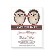 I wanted to share with you these Cute Hedgehogs Holding Red Heart Save the Date Cards? Do you like them?  | Save the date for your wedding with this super cute and affectionate hedgehog design. Cute hedgehog Save the Date cards with two adorable brown hedgehogs smiling at each other, holding a red heart between them as an expression of love and affection. Across the center area of these cards is 'save the date' in white over a red and brown wood grain stripe. Your save the date details are…