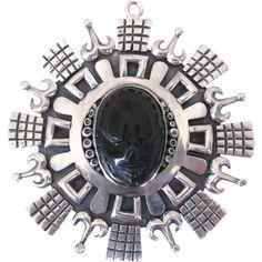 Vintage Taxco Los Ballesteros Mexican Sterling Silver Obsidian Pendant...