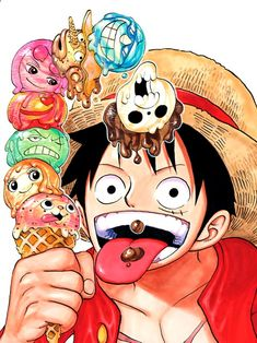 Luffy and the icecream crew ONE PIECE Anime One Piece, One Piece Comic, One Piece Fanart, One Piece Luffy, Anime Chibi, Manga Anime, Anime Art, One Piece Pictures, One Piece Images
