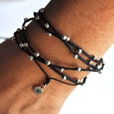 Quad wrap around bracelet/necklace on BLACK waxed Irish linen cord by Vivien Frank
