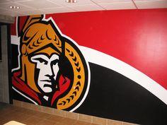 Ottawa Senator themed mural hand painted by Mural Magic in Ottawa. Nhl Hockey Jerseys, Hockey Logos, Ottawa, Ontario, Hockey Bedroom, Basement Painting, Man Cave Basement, Man Cave Diy, Ice Hockey
