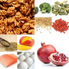 Healthy foods for skin. #walnuts #broccoli #pomegranates #salmon #eggs #nutrition #skincare #skin #ToiletTreeProducts. Cadette Eating for Beauty badge