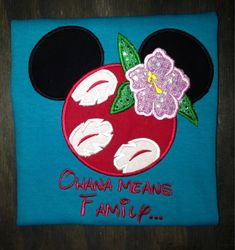 f6ee3532 Lilo and Stitch/Lilo Mickey Ears appliqued shirt. Front and back