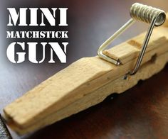 Mini Matchstick Gun - the Clothespin Pocket Pistol: In this project we're taking boring old clothespins, and up-cycling them into powerful matchstick & toothpick shooters, that will stick into apples, and lob firey darts over 20 feet. Popsicle Stick Crafts, Popsicle Sticks, Craft Stick Crafts, Wood Crafts, Fun Crafts, Rubber Band Gun, Pocket Pistol, Metal Spring, Slingshot