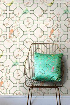 Jinsique Wallpaper by Kelsey Proud - Moonlight, Springtime or Garden - 10m roll - Wallpaper