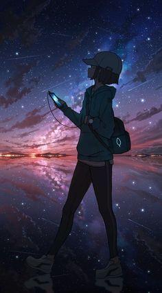 Anime Backgrounds Wallpapers, Anime Scenery Wallpaper, Cute Anime Wallpaper, Anime Artwork, Animes Wallpapers, Sad Anime Girl, Kawaii Anime Girl, Anime Art Girl, Anime Galaxy