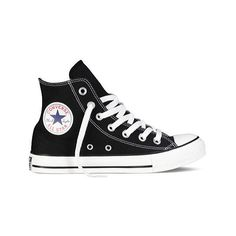 Converse Chuck Taylor All Star High Top Sneaker (960 ARS) ❤ liked on Polyvore featuring shoes, sneakers, black, casual shoes, retro sneakers, canvas sneakers, black hi tops, black hi top sneakers and converse sneakers