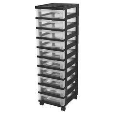 IRIS 10 Drawer Rolling Storage Cart, Black : Target