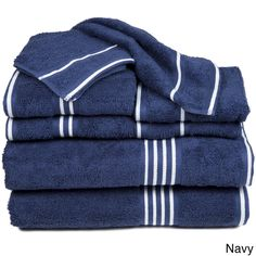 These Cotton Towels are extremely soft and absorbent. The super plush towels with understated striped detail will add a touch of elegance to any decor. Set includes 2 bath towels, 2 hand towels, 2 fingertip towels an 2 washcloths. Windsor Homes, Navy Blue Bathrooms, White Bathroom, Egyptian Cotton Towels, Fingertip Towels, Striped Towels, Decorative Towels, Bath Linens, Bath Towel Sets
