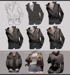 taken from May 2017 tutorial reward Full version (up to + Step by Step videos ('Drawing and Painting Leather Jacket' total duration: Drawing Leather Jacket Digital Painting Tutorials, Digital Art Tutorial, Painting Tools, Art Tutorials, Clothes Draw, Drawing Clothes, Drawing Skills, Drawing Techniques, Jacket Drawing