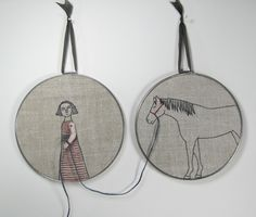 girl and her horse- hand embroidery. $220.00, via Etsy.