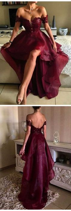 2017 High Low Sexy Prom Dress, Off the Shoulder Prom Dress, A-lineSexy Prom Dresses, Asymmetrical Prom Dresses, Appliques Lace Backless Prom Dressesp