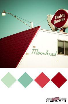vintage kleurenpalet mint en rood   kleurinspiratie   kleur   color inspiration   color schema   retro