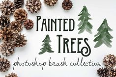 Painted Pine Trees - PS Brushes by The Big Lake on Creative Market