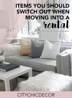 Items You Should Switch Out When Moving Into a New Rental - City Chic Decor Moving into a rented space? These are the items you must switch out when you move into your new home! Renting Decorating, Rental House Decorating, Studio Apartment Decorating, Decorating Tips, Apartment Wallpaper, Classy Living Room, Studio Apartment Layout, Room Essentials, Apartment Living