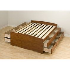 Cherry Tall Full 12-drawer Captain's Platform Storage Bed