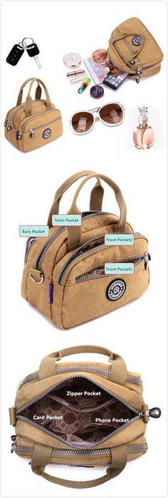 $14.79【Special 2 / US$27.84】Women Nylon Crossbody Bag Shoulder Bag Casual Outdoor Picnic Bag