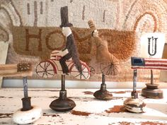 BICYCLE PARADE Gentlewoman folk art primitive by thesimplequiet, $125.00