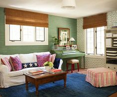Jade grass-cloth wallpaper and bamboo blinds envelop this room with texture: http://www.bhg.com/decorating/decorating-photos/living-room/texture-meets-pattern/?socsrc=bhgpin020815texturemeetspattern&living-room