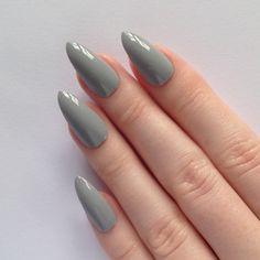 Grey Stiletto nails, Nail designs, Nail art, Nails, Stiletto nails, Acrylic nails, Pointy nails, Fake nails