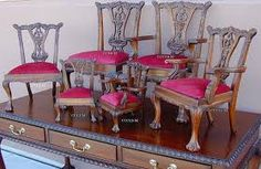 Take your collection to a new level of elegance by choosing our Chippendale doll armchair today. Click now to explore our upholstery options and services. Chippendale Chairs, Love Chair, Miniature Chair, Carved Furniture, Chair, Miniatures, Clawfoot, Chippendale, Kids Armchair