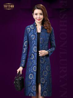 Kiểu áo dạ dáng dài thiết kế hoa ren thêu nổi cực kỳ sang trọng, đẳng cấp TA1249