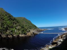 Looking towards the suspension bridge from inside Storms River Mouth Tsitsikamma National Park, River Mouth, Suspension Bridge, Storms, National Parks, Water, Outdoor, Beautiful, Gripe Water