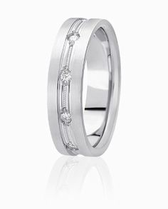 Classic Milgrain Accented Wedding Ring Enhanced By Bead Set Round Brilliant Diamonds