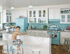 Eclectic Island Style Teal kitchen, white cabinets, JANE COSLICK DESIGNS AND RESTORATIONS,