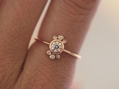 Halo Diamond Ring Halo Diamond Engagement Ring Rose by MinimalVS