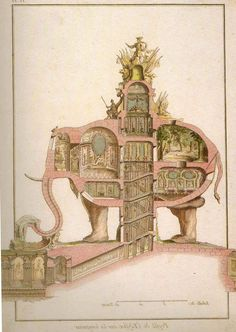 16 best rejected blueprints for historical landmarks images on the proposal for the arc du triomphe a proposal in 1758 for an elephant fountain malvernweather Image collections