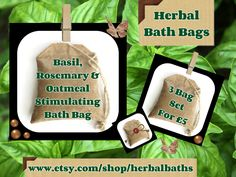 Bath and Beauty, 3 Herbal Bath Bags, Basil, Rosemary & Oatmeal Stimulating Bath Bag, Bath Set, Home Spa, Relaxation, Herbal Gift Set by HerbalBaths on Etsy