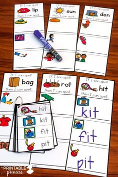 """CVC Practice for Kindergarten centers! Teach students to spell words by changing just the first letter. Perfect for word work! Can be completed using magnetic letters, play dough, or dry erase markers. Includes """"I Can"""" visual directions and several recording sheet options. #printableprincess #reading #kindergarten"""