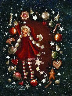 Katja Saario m Christmas Tree, Christmas Ornaments, Santa, Holiday Decor, Illustration, Christmas, Teal Christmas Tree, Christmas Jewelry, Xmas Trees