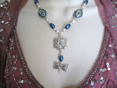 Dragonfly Necklace victorian jewelry steampunk by Sheekydoodle, $45.00