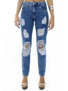 Calça Jeans Boyfriend Destroyed