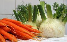 Crema di carote e finocchi - La crema di carote e finocchi è una zuppa light per il dopo feste. Si prepara lessando e frullando le verdure, e amalgamando il frullato con parmigiano grattugiato e olio, con un cucchiaino di semi di cumino.
