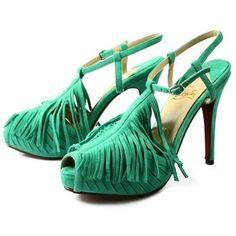 Chaussure Louboutin Pas Cher Sandale Vert Bridée Fanges Plates-formes5 #shoes